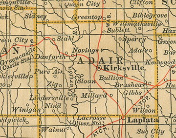 Early map of Adair County, Missouri with Kirksville, Novinger, Brashear, Millard, Gibbs, Shibleys Point, Willmathsville, Danforth, Pure Air, Bullion, Nind, Sperry, Sublett