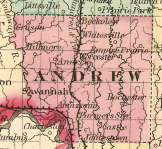 Early map of Andrew County, Missouri with Savannah, Rosendale, Bolckow, Fillmore, Amazonia, Rea, Cosby, Helena, Flag Springs, Whitesville
