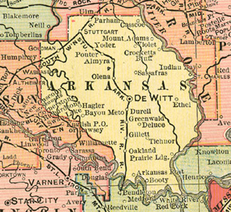 Arkansas County Arkansas Genealogy History Maps With De Witt - Map of arkansas