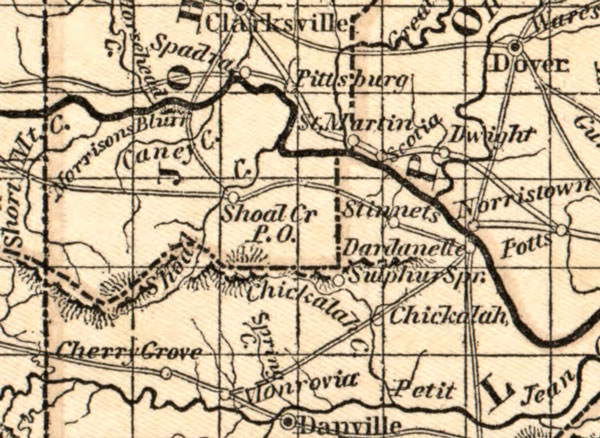 Arkansas:  Map: Arkansas State 1844 by Morse, Historic Map Reprint