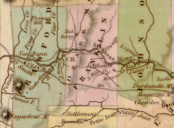 Arkansas:  Map: Arkansas State 1844 by Tanner, Historic Map Reprint