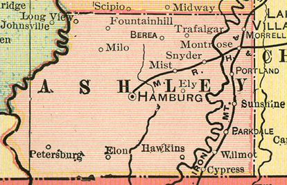 Early map of Ashley County, Arkansas including Hamburg,  Crossett, Fountain Hill, Montrose, Portland, Parkdale, Wilmot