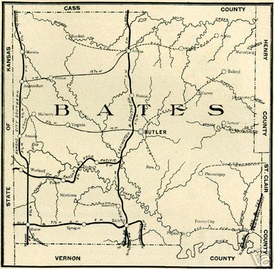 Early Map of Bates County Missouri including Butler, Rich Hill, Adrian, Foster, Hume, Rockville, Amsterdam, Amoret