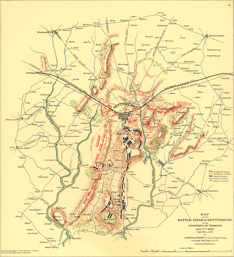 Battle of Gettysburg, July 2, 1863 Historic Map Reprint on scranton on map, appomattox on map, atlanta on us map, pierre on map, chancellorsville on map, underground railroad on map, fairfield on map, port hudson on map, vicksburg on map, fort sumter on map, penn hills on map, shay's rebellion on map, cumberland county on map, allegheny national forest on map, antietam on map, huron on map, paradise on map, mount carmel on map, kadoka on map, hershey on map,