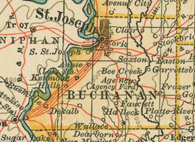 Buchanan County Missouri Genealogy History Maps With St Joseph