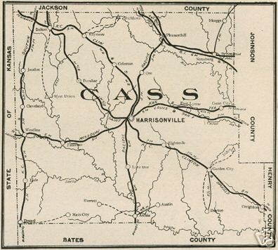 Cass County Missouri map including Harrisonville, Pleasant Hill, Belton, Garden City, Peculiar, Raymore, Gunn City, East Lynne