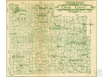 Cedar County Missouri Genealogy, History, maps with Stockton, El