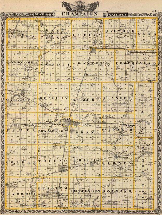 Champaign County, Illinois 1876 Historic Map Reprint on