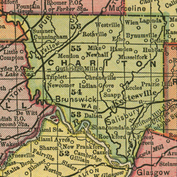 Early map of Chariton County, Missouri including Keytesville, Salisbury, Brunswick, Triplett, Sumner, Cunningham, Dalton