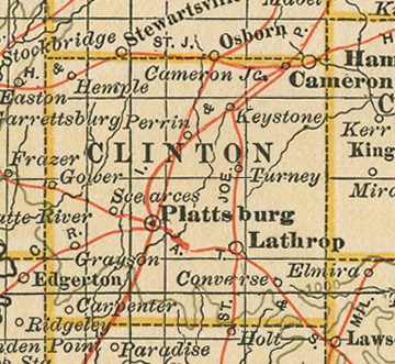 Early map of Clinton County, Missouri including Plattsburg, Cameron, Lathrop, Gower, Grayson, Hemple, Converse, MO