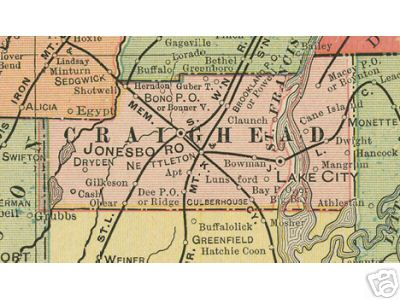 Early map of Craighead County, Arkansas including Jonesboro, Lake City, Nettleton, Dryden, Bay, Brookland, Bono