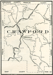 Early map of Crawford County, Missouri including Steelville, Cuba, Bourbon, Leasburg, Cherryville, Oak Hill, Wesco