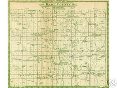 Early map of Dade County, Missouri including Greenfield, Lockwood, Everton, Dadeville, Arcola