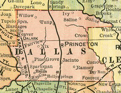 Dallas County Arkansas Genealogy, History, maps with Princeton ... on
