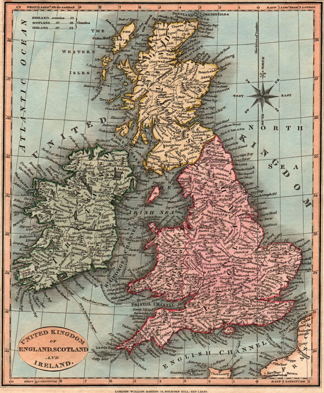 Map Of Ireland England.England Scotland Ireland 1820 William Darton Historic Map Reprint