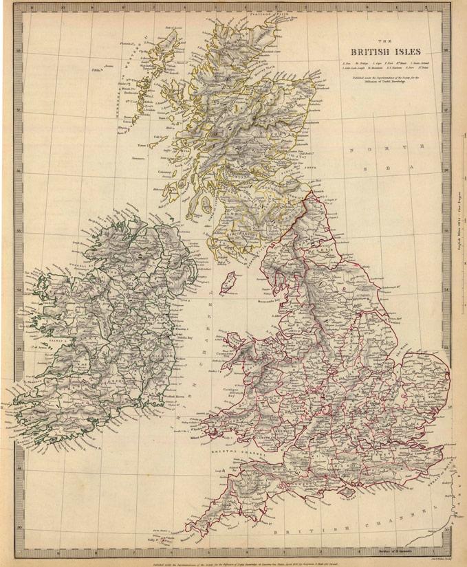 Map Of England Scotland.England Scotland Ireland 1842 Historic Map Reprint By Chapman And Hall