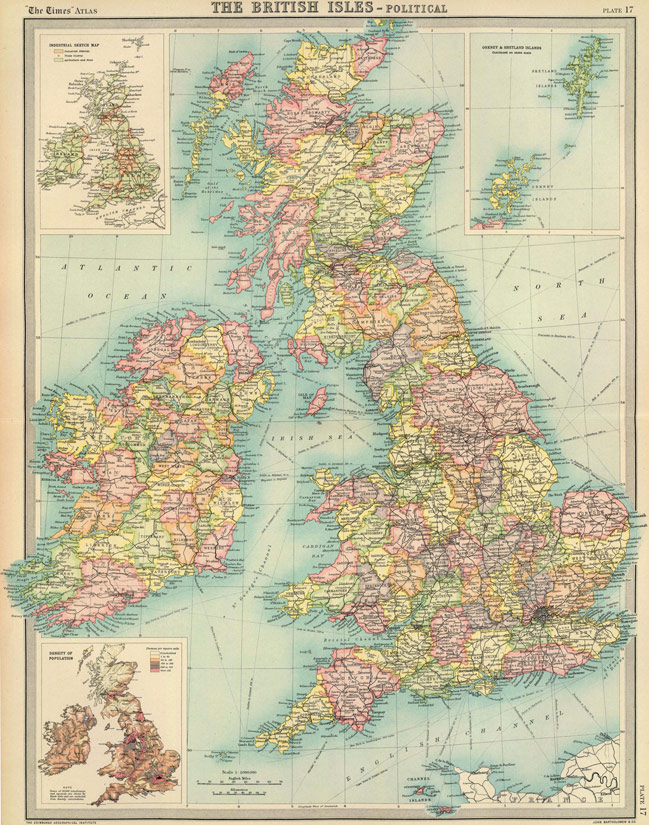 Map Of England Scotland And Ireland.England Scotland Ireland 1922 Historic Map Reprint By John Bartholomew
