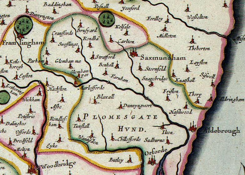 Suffolk County England Map.Suffolk County England 1646 Jannonius Historic Map Reprint