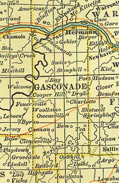 Early map of Gasconade County, Missouri including Hermann, Owensville, Rosebud, Bland, Swiss, Drake