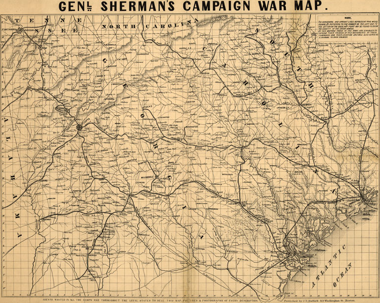 Map Of Georgia South Carolina.General Sherman S 1864 Campaign War Map Of Georgia And South