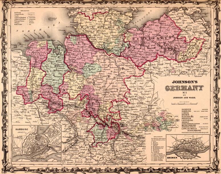Germany Northern 1862 Johnson and Ward Historic Map Reprint