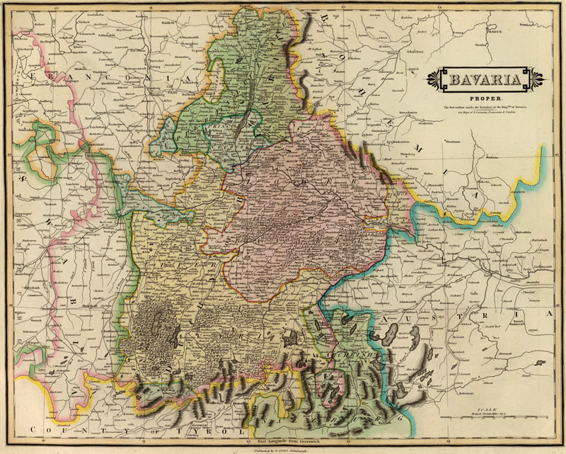 Bavaria Germany 1831 Historic Map Reprint by Lizars