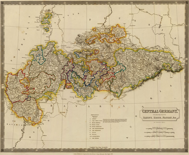 Map Of Central Germany.Central Germany 1828 Historic Map Reprint By Hall