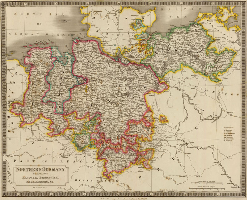 Northern Germany 1828 Historic Map Reprint by Hall
