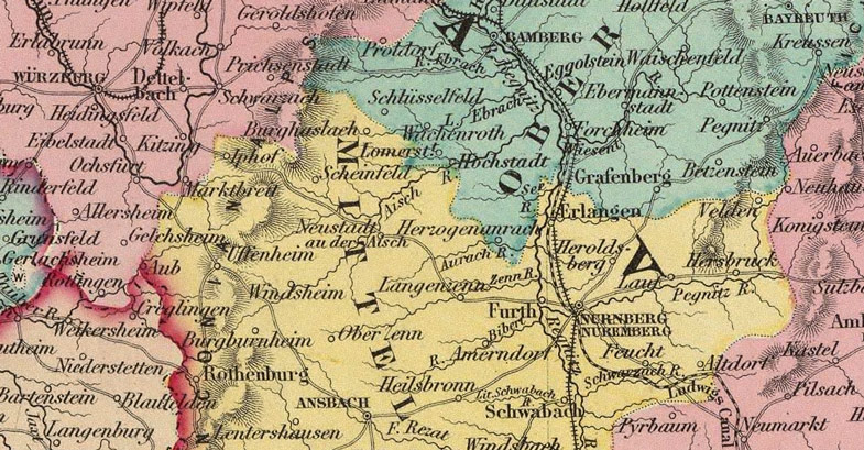 Map Of South Germany.Germany South 1856 Colton Historic Map Reprint
