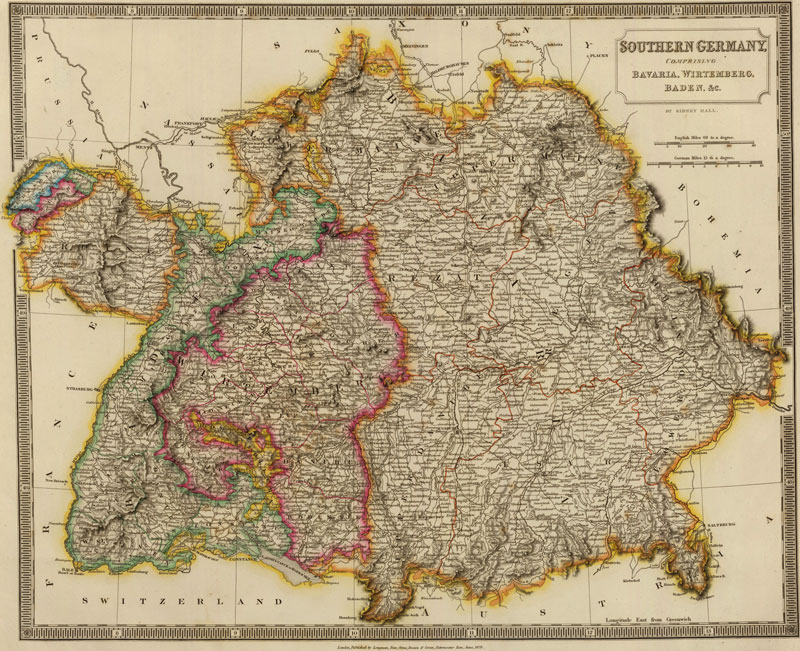 southern germany 1828 historic map reprint