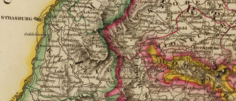detail of southern germany 1828 historic map with bavaria wirtemberg baden
