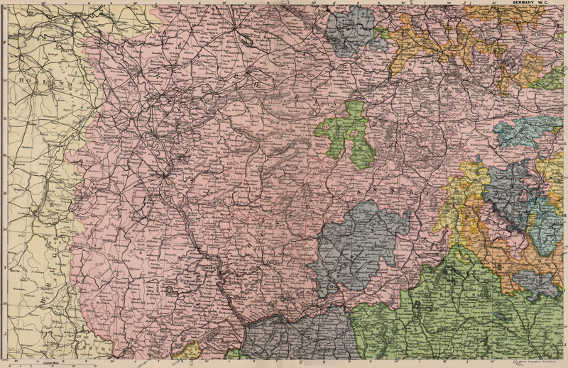 Map Of Central Germany.West Central Germany 1905 Bacon Historic Map Reprint