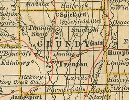 Grundy County Missouri Genealogy History maps with Trenton Laredo