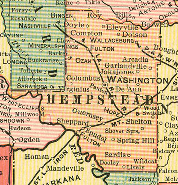 Early map of Hempstead County, Arkansas including Washington, Hope, Ozan, Columbus, Spring Hill, Sprudel, AR