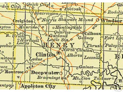 Henry County Missouri Genealogy History Maps With Clinton Windsor