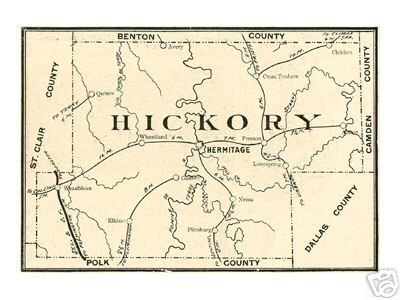 Early map of Hickory County, Missouri including Hermitage, Weaubleau, Wheatland, Cross Timbers, Nemo, Preston, Urbana