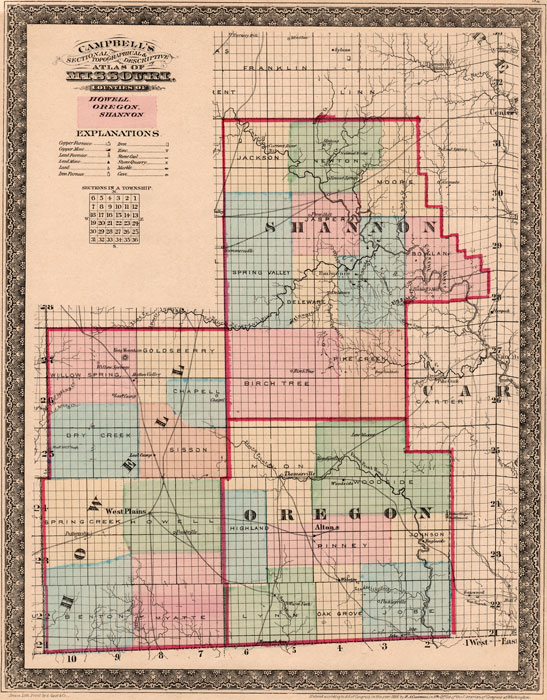 Howell Oregon And Shannon Counties Missouri Campbell S 1872