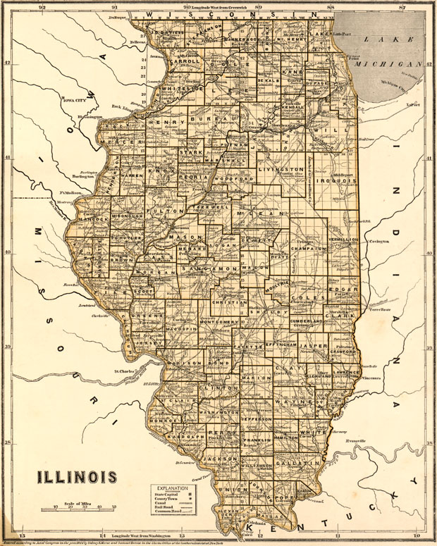 Illinois State 1844 Historic Map Morse Reprint