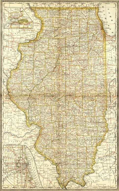 Illinois State 1881 Historic Map Rand McNally Reprint