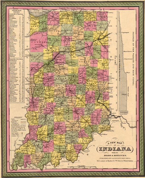 Indiana State By Mitchell Historic Map Reprint - Indiana state map