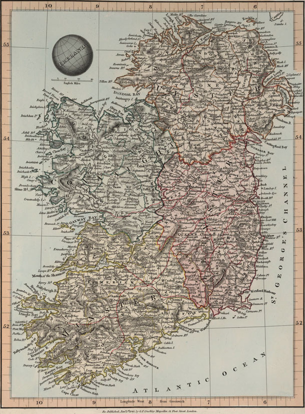 Ireland 1845 Historic Map Reprint By G F Cruchley