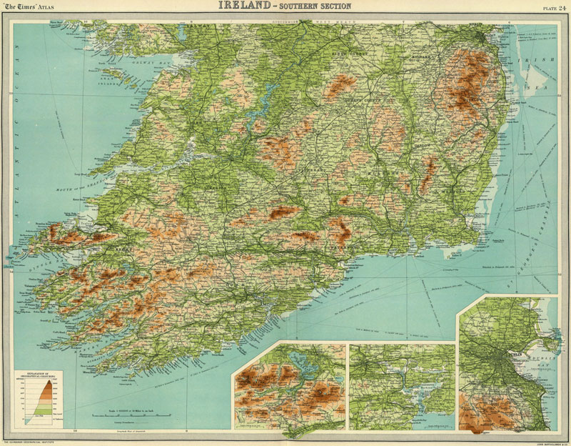 South Of Ireland Map.South Ireland 1922 Historic Map Reprint By J G Bartholomew