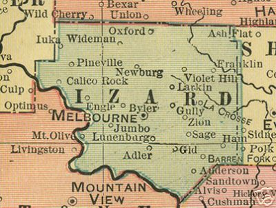 Early map of Izard County, Arkansas including Melbourne, Calico Rock, Oxford, Pineville, Franklin, Newburg