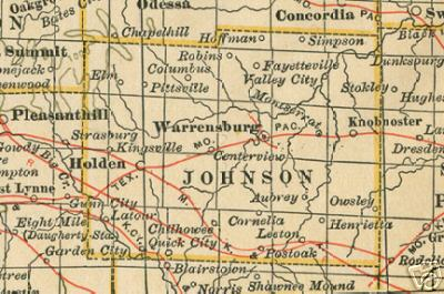 Johnson County Missouri Genealogy History Maps With Warrensburg