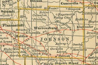 Johnson County Missouri Genealogy History Maps With Warrensburg - County maps of missouri