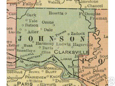 Early map of Johnson County, Arkansas including Clarksville, Coal Hill, Hartman, Harmony, Lamar, Knoxville, Ludwig