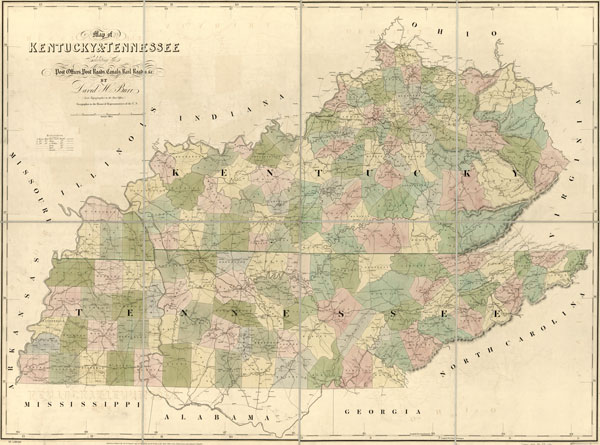 And Tennessee State Historic Map Burr American Atlas Reprint - Kentucky tennessee map