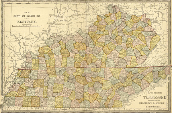 USA: Southern: Map: Kentucky and Tennessee 1881 Historic Map Reprint