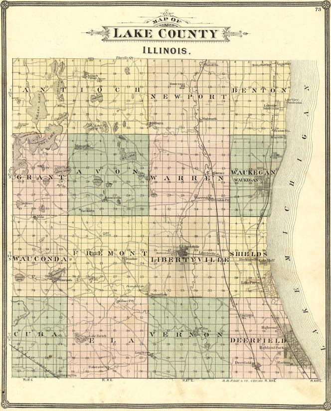 Lake County Colorado Map.Lake County Illinois 1885 Historic Map Reprint