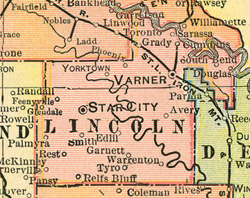 Lincoln County Arkansas Genealogy History Maps With Star City